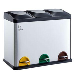 SVITA TC3X15 Mülleimer Papierkorb Edelstahl Treteimer Abfalleimer Recycling 45L