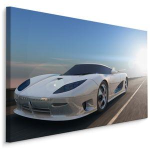 Fabelhafte Canvas LEINWAND BILDER 90x60 cm XXL Kunstdruck Auto Sportwagen Himmel