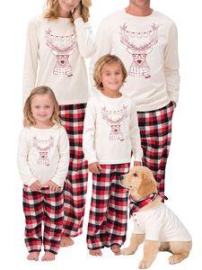 Passende Familienpyjamas-Sets Weihnachtshirsch-bedruckte Langarm-Nachtwäsche,Farbe:Papa,Größe:L