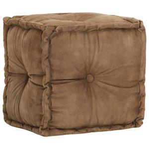 Pouf Braun 40 x 40 x 40 cm Baumwoll-Leinwand - Sitzhocker Sitztruhe Polsterhocker für Wohnzimmer Schlafzimmer Garten