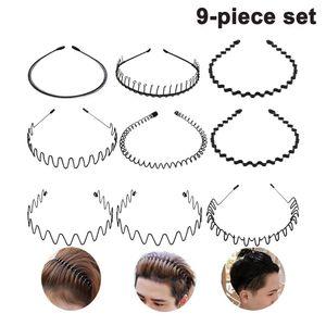 Unisex Metall Haarband, Schwarz Spring Wave Haarband, Rutschfestes Elastisches Stirnband Haarbänder Haarreifen Haarschmuck Stirnband Zubehör für Outdoor Sports Yoga