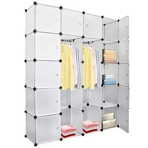 karpal 20 Wuerfel DIY Regalsystem Kleiderschrank Offen Kunststoff Garderobe mit Tueren Garderobenschrank Weiss 180 * 142 * 37CM