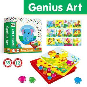 Mosaik Steckspiel für Kinder für 1, 2, 3 Jahre, Steckmosaik mit 35 Steckperlen und 12 Bunten Steckplätte, Mosaiksteine, Pädagogische Baustein Sets, Lernspielzeug Geschenke für Junge Mädchen