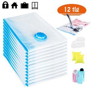 Rexoo 12tlg Set Vakuum Beutel 80x60 cm Aufbewahrungsbeutel Tasche Tüte Vacuum für Textilien jeder Art Platzsparer