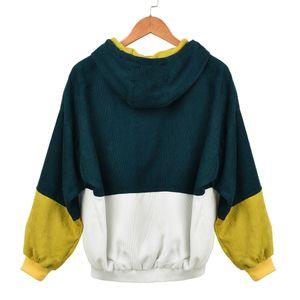 Damen Langarm Cord Patchwork Oversize Jacke Windbreaker Coat Mantel Größe:XXL,Farbe:Grün