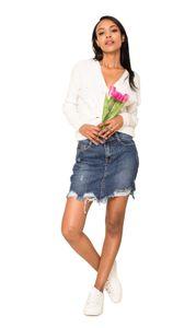 Damen Jeans Mini Rock Elegant Knie Lang Stretch Destroyed Fransen Risse, Farben:Dunkelblau, Größe:38