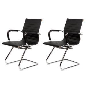 SVITA Elegance 2x Besucherstuhl Kunstleder Freischwinger-Stuhl mit Armlehne Konferenzstuhl ohne Rollen Office-Stuhl Schwarz
