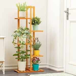 MECO 5 Ablagen Bambus Blumenregal Blumenständer Pflanzentreppe Pflanzregal Gartenregal Blumentopf