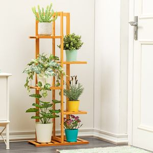 Braun 5 Ebenen Bambus Blumenregal Holz Blumenregal Blumentopf Display Stand