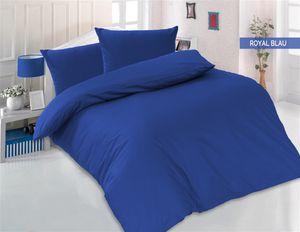 Bettwäsche 200x220 + 2 x 80x80 cm 100% Baumwolle Renforcé Uni 3 teilig Bettgarnitur Bettbezug Set mit Reißverschluss Royalblau