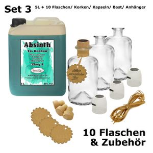 Absinth Arctic Blue 5L Eisbonbon inkl 10 Flaschen, Korken, Kapseln, Bast & Anhänger 55%Vol Mit max.erlaubten Thujon 35mg/L