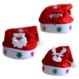 3x LED Glühen Weihnachtsmütze mit Bommel Rote Nikolaus Mütze Weihnachtsmann Weihnachtsmützen