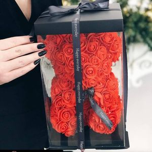 Rose Bear Flower Wedding Party Love Teddy 25cm Box Rot Birthday Gift
