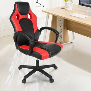 JEOBEST® Racing Bürostuhl Chefsessel Drehstuhl Gaming Stuhl Schreibtischstuhl ergonomischer bis120 kg Schwarz-rot