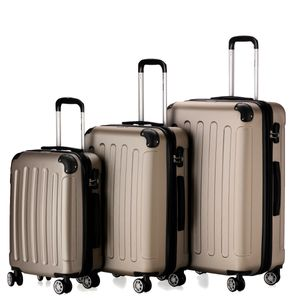 Flexot 2045 3er Reisekoffer Set - Farbe Champagner Größe M L XL Kofferset Hartschale Trolley Koffer