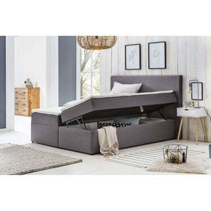 Möbelfreude Polsterbett mit Bettkasten Modell: Bianca, 160 x 200 cm Härtgrad H2, Hellgrau inkl. Topper, mit Bettkasten