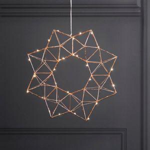 LED-Drahtstern 'Edge' - hängend - 30 warmweiße LEDs - Ø: 40cm - kupferfarben