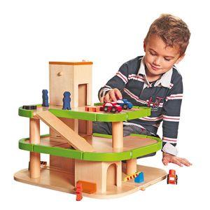 KINDER HOLZ PARKHAUS Holzspielzeug Parkgarage Spielzeug Holzauto Auto Bahn