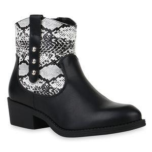 Mytrendshoe Damen Stiefeletten Cowboy Boots Western Schuhe Nieten 832211, Farbe: Schwarz Weiß Snake, Größe: 39