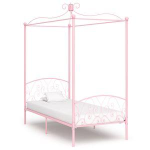 Himmelbett-Gestell Rosa Metall 100 x 200 cm - klassische betten für Schlafzimmer