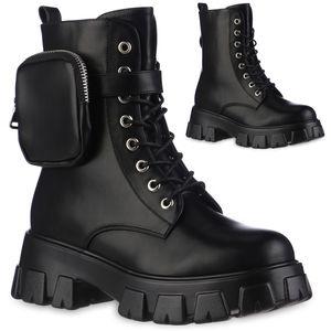 VAN HILL Damen Leicht Gefütterte Plateau Boots Stiefel Profil-Sohle Schuhe 837821, Farbe: Schwarz, Größe: 38