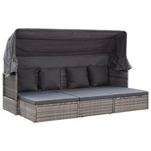 vidaXL Gartenbett mit Dach Gemischt Grau 200 x 60 x 124 cm Poly Rattan