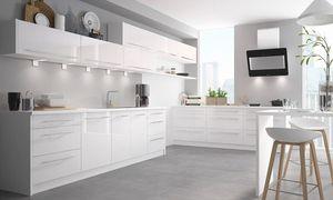 Lackierter Küchenblock Küchenzeile weiß / RAL 9016 verkehrsweiß Hochglanz lackiert