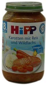 HiPP Menüs ab 8.Monat, Karotten mit Reis und Wildlachs, DE-ÖKO-037 - VE 220g