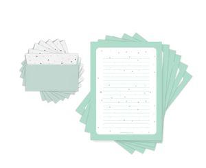 Friendly Fox Briefpapier DREIECKE- modernes Briefpapier Set mit Linien - 20 Briefbögen mit Umschlag - A4 Briefpapier für Kinder und Erwachsene