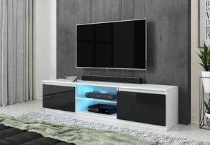 FURNIX Fernsehschrank / TV-Lowboard Arenal 120cm weiß/schwarz im Hochglanz mit LED