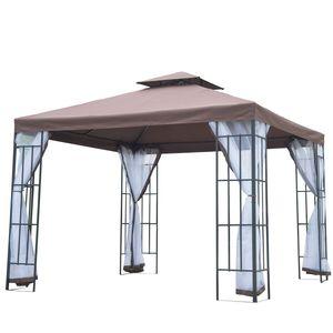 Outsunny Pavillon Gartenpavillon Partyzelt Gartenzelt Festzelt Doppeldach 3x3m