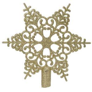 Bruchfeste Weihnachtsbaumspitze Barock Stern Goldfarben mit Glitter - Kunststoff