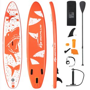 COSTWAY 320 x 76 x 15cm Stand Up Paddling Board, SUP Board aufblasbar, Paddelboard mit Sicherheitsleine, Paddel, Pumpe, Center Finne, Rucksack und Reparaturset