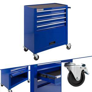 AREBOS Werkstattwagen Werkzeugwagen Rollwagen 4 Schubladen + großes Fach Blau