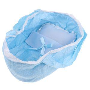 schöne Punkte Baby Puppe Schlafsack für 26-28cm Puppen Zubehör blau