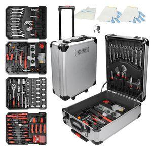 ECD Germany Alu Werkzeugkoffür 949 teilig Qualitätswerkzeug, Silber, Chrom-Vanadium Stahl, 4 Ebenen, mit Rollen, Werkzeugkasten Werkzeugkiste Werkzeugtasche Werkzeugbox Werkzeug-Set Werkzeug Trolley