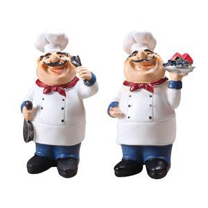 2 Stücke Chefkoch Küchenchef Koch Figur Dekofigur für Küche Restaurant Café Bäckerei