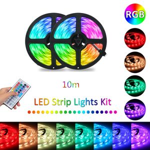 10M LED Strip Lights RGB Farbwechsel LED-Streifen mit DIY 44 Tasten IR-Fernbedienung und 12V-Netzteil fuer Innen- und Aussenbeleuchtung Festival Party