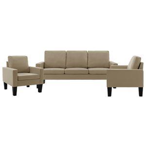 3-tlg. Sofagarnitur Cappuccino-Braun Kunstleder, Wohnlandschaft-Sofa, Couch, Relaxsofa Moderne