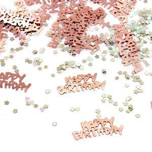 Oblique Unique Konfetti Set 500 Stk Happy Birthday Sterne Herzen Tischdeko Geburtstag Roségold