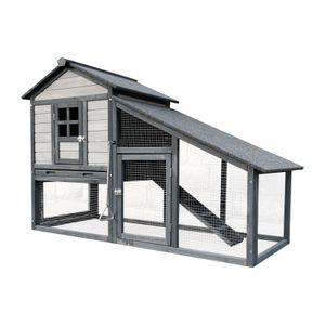 XL Hasenstall hellgrau 151x66x100cm, Holz, Nagerhaus & Freilauf, ausziehbare Schale für Reinigung