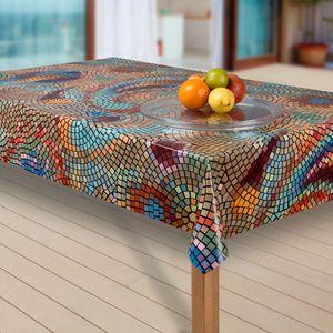 Wachstuch-Tischdecke Wachstischdecke Tischwäsche Abwaschbar Wachstuchdecke, Muster:Mosaik bunt, Größe:80x80 cm