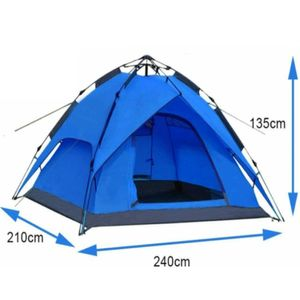 Zelt Campingzelt Kuppelzelt Wurfzelt 2/3 Personen, Sekundenzelt 240x210x135cm ( Blau  ) 2002 Abverkauf