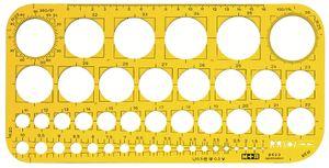 M+R Lochkreisschablone 1-36 mm gelb-transparent