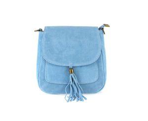 Italy DAMEN LEDER TASCHE Messenger Bag Henkeltasche Wildleder Handtasche Umhängetasche Ledertasche Schultertasche Beuteltasche Fransen Cross-Over Himmelsblau