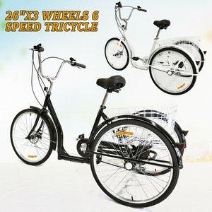 "26"" Dreirad Erwachsene Fahrrad 6-Gang 3 Rad Dreirad Kreuzfahrt Trike Cruise Bike Tricycle mit Korb"