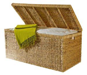 Artra Design Truhe mit Klappdeckel 110 cm, Wasserhyazinthe atmungsaktiv natur, BSCI nachhaltige Aufbewahrungsbox mit Deckel Aufbewahrungskiste Aufbewahrungstruhe