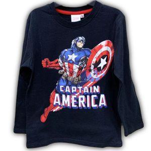 T-Shirt Langarm Kinder Marvel Captain America Jungen Schwarz Gr. 110