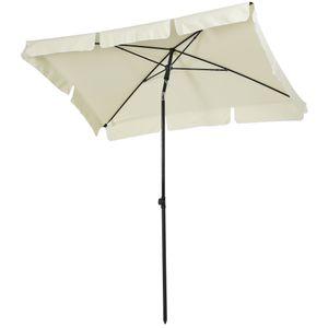 Outsunny Sonnenschirm Gartenschirm Strandschirm Balkonschirm Schirm Sonnenschutz knickbar (Cremeweiß+Schwarz)