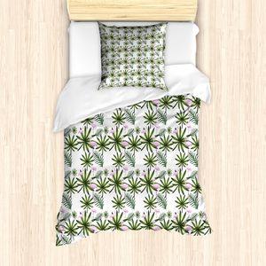ABAKUHAUS Flamingo Bettbezug Set für Einzelbetten, Gebogene Neck Flamingo, Milbensicher Allergiker geeignet mit Kissenbezug, 135 cm x 200 cm - 80 x 80 cm, Blassrosa und Smaragd